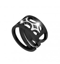 Seventies Rebecca bronze ring black rhodium B70ANB02