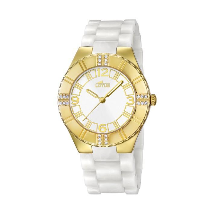Reloj lotus trendy mujer chapado oro amarillo - Policarbonato blanco precio ...
