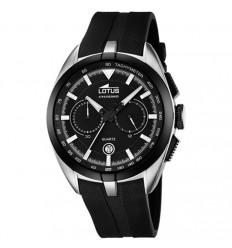Lotus Chronograph man 18189/2 rubber watch strap black dial