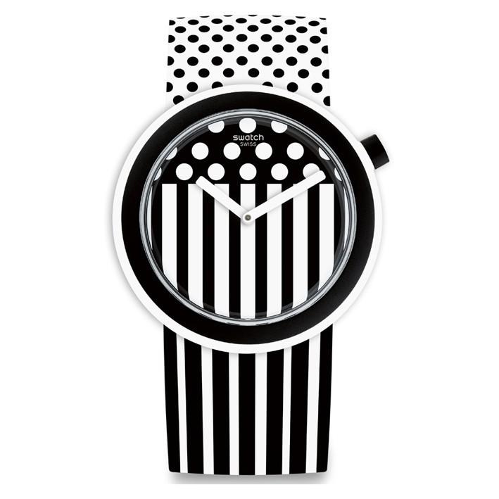 popdancing reloj swatch pop correa blanca rayas y puntos negros pnw