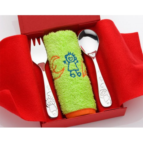 Cutlery steel Piti and bib Toto. 481000