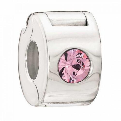 Bead LOCK JEWELED pink pale. 1483-0012