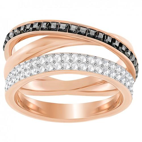 Ring Swarovski Hero bathed in pink gold stones white and black 5350665 5366566