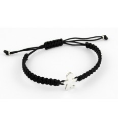 Bracelet silver black Macrame Inson child BR502IN01