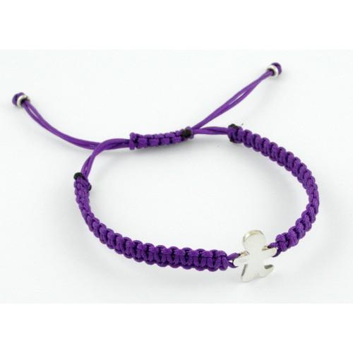 Bracelet silver Macrame lilac child Inson BR504IN01
