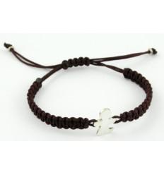 Brown silver Macrame bracelet child Inson BR503IN01