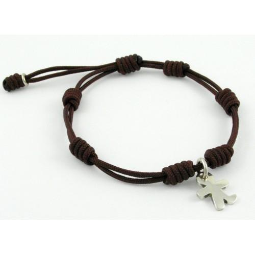 Bracelet silver knots Brown child Inson BR503IN02