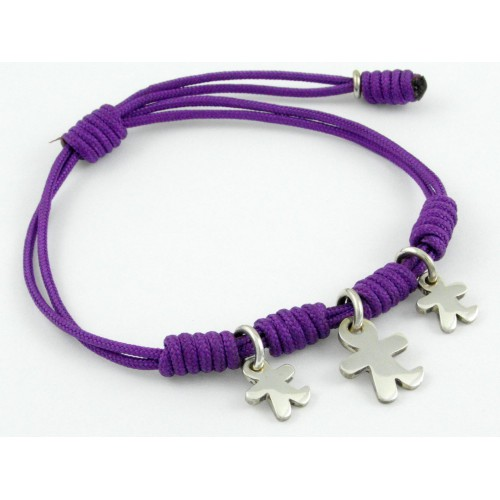 Bracelet silver knots lilac Inson children BR504IN04