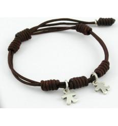 Bracelet silver knots Brown children Inson BR503IN03