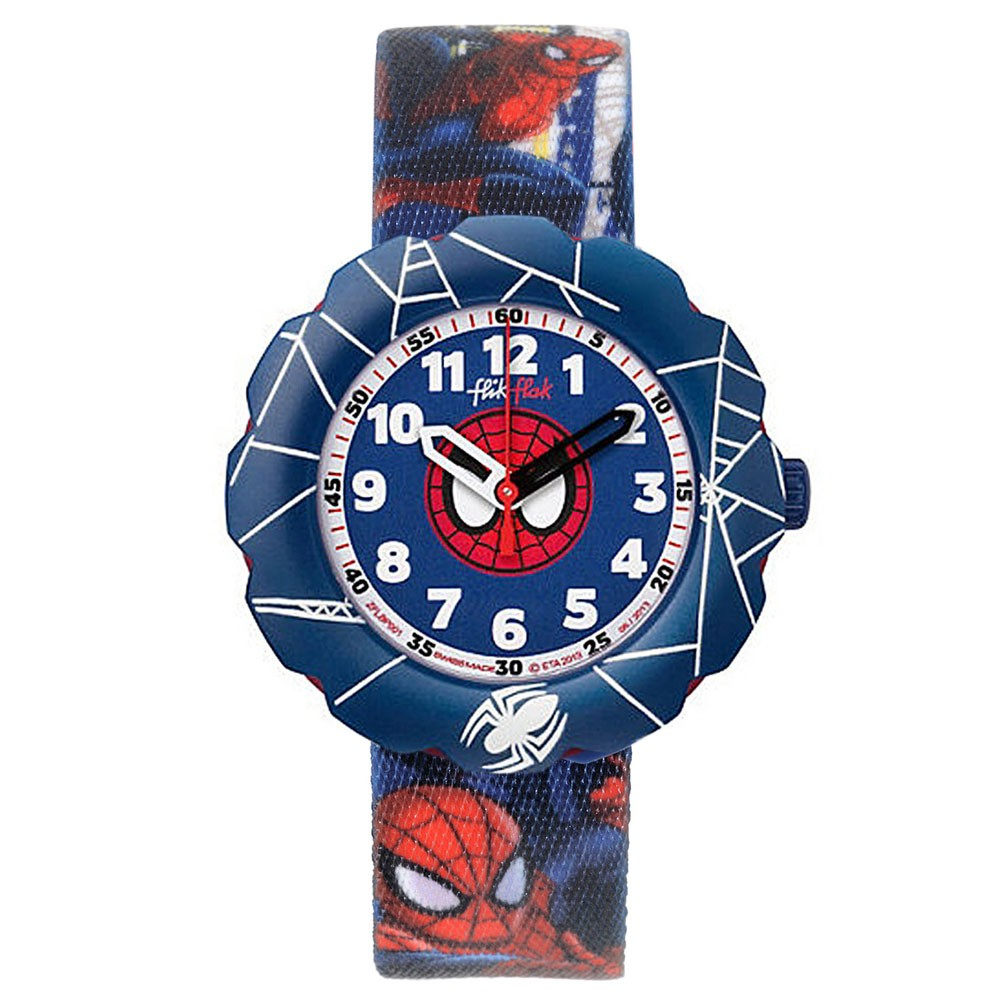 Flik flak watch spider cycle flsp001 spiderman blue dial for Spiderman watches