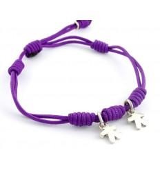 Bracelet silver knots lilac Inson children BR504IN03