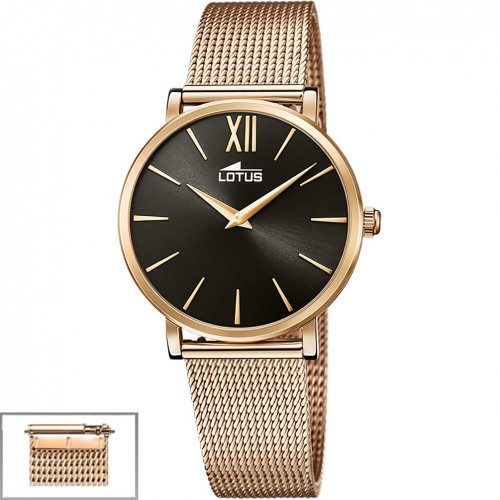 Lotus Trendy Women's watch Black dial Steel and leather strap 18733/2