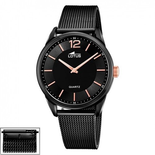 Lotus Smart Casual Black dial doble strap in leather and steel 18736/3