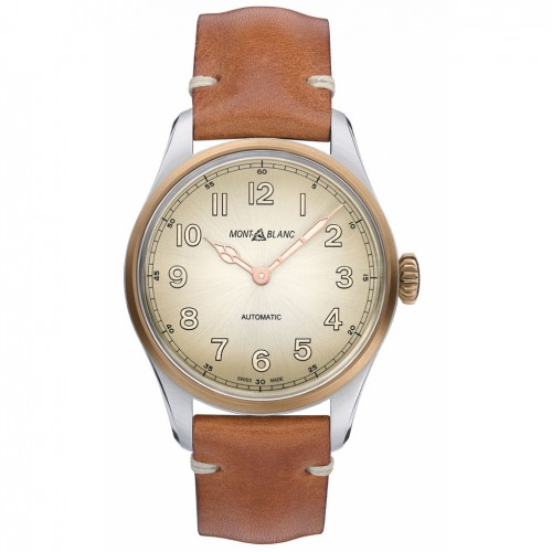 Montblanc 1858 Automatic watch Champagne dial Brown leather strap
