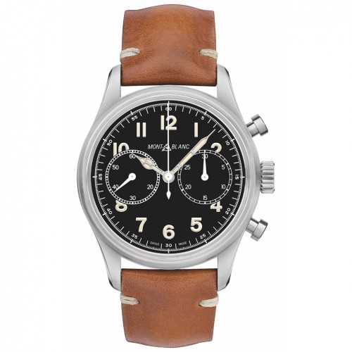 Montblanc 1858 Automatic Chronograph 117836 Black dial leather strap