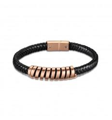 Lotus Style Urbanman bracelet LS2047-2/3 black leather rose gold steel