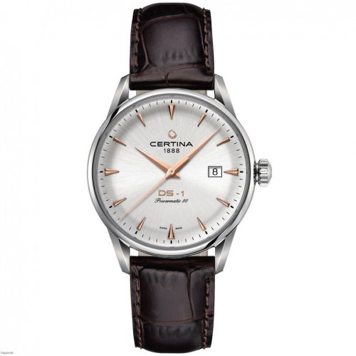 Certina DS-1 Powermatic 80 Silver dial Leather strap C0298071603101