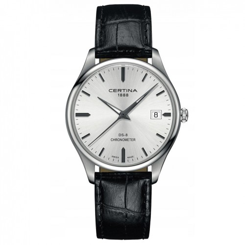 Certina DS-8 Chronometer Silver dial leather strap C0334511603100