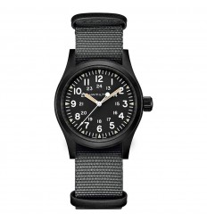 Hamilton Khaki Field Mechanical watch Black steel Grey strap H69409930