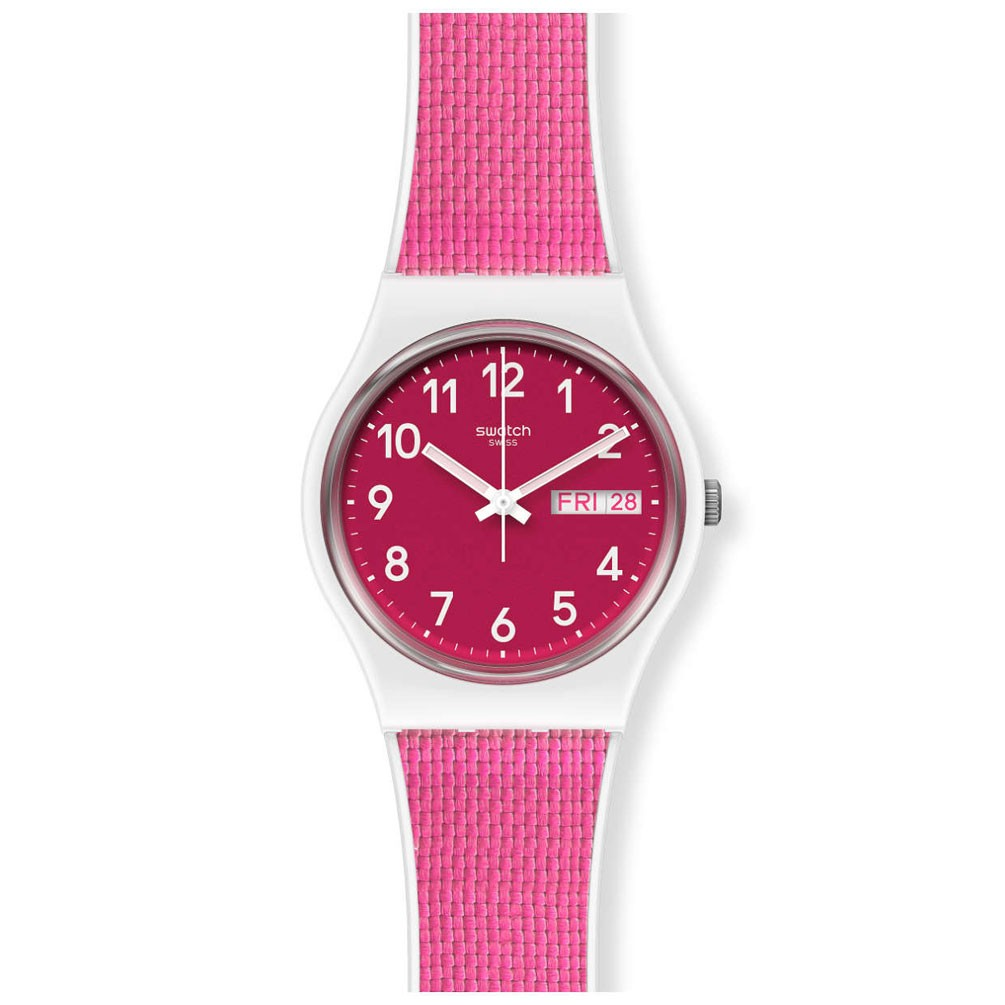 Swatch Original Gent Berry Light Gw713 Pink Silicone And Fabric