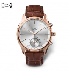 Kronaby Sekel connected watch 43mm Rose Silver brown leather strap S2746/1