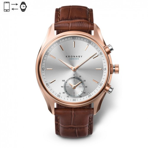 Kronaby Sekel connected watch 43 Rose Silver brown leather strap S2746/1