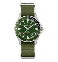 Hamilton Khaki Navy Scuba Auto watch H82375961 Fabric strap Green dial