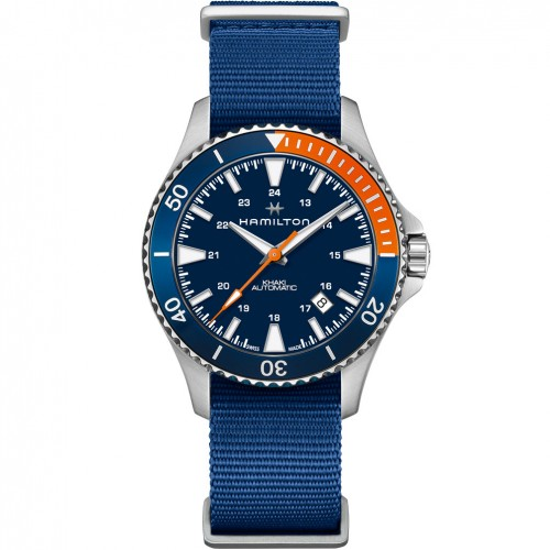 Hamilton Khaki Navy Scuba Auto watch H82365941 NATO strap Blue dial