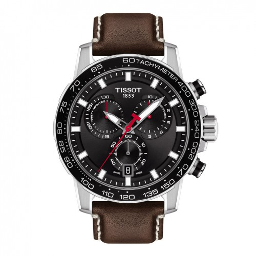 Tissot Supersport Chrono watch Leather Steel black dial T1256171605101