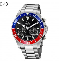 Connected Jaguar Hybrid watch Black dial and red and blue bezel J888/4