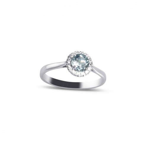 18 carat White Gold ring with 15 diamonds and blue topaz Sky color