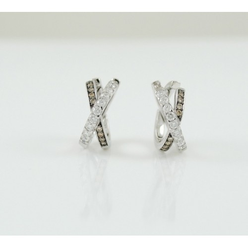 Earrings Gold White Diamond White and Brown R3750