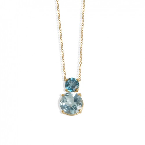 18 carat rose gold pendant with 2 round topaz in blue Sky London color