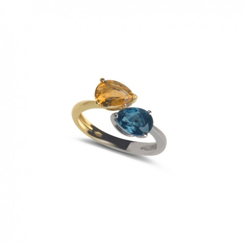 18 carat White/yellow Gold ring with 1 blue Topaz 1 yellow citrine