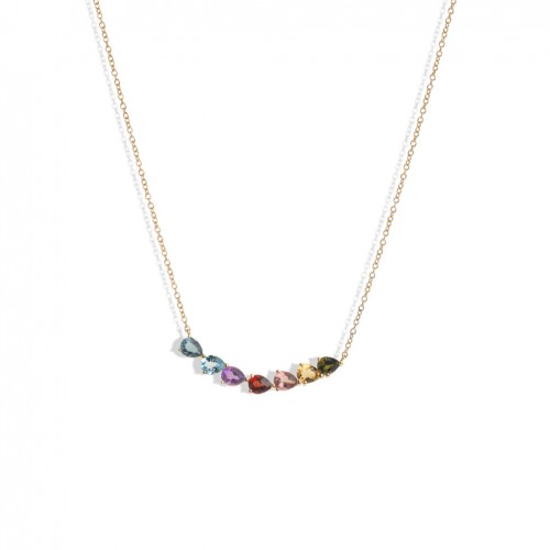 18 carat rose gold necklace with different color stones pear cut