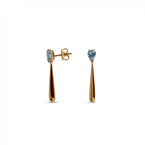18 carat rose gold earrings with 1 blue color Sky Topaz pear cut