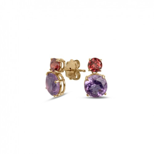 18 carat rose gold earrings with circular amethyst and rhodolite