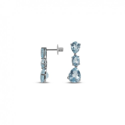 18 carat long white gold earrings with 8 topaz blue Sky color
