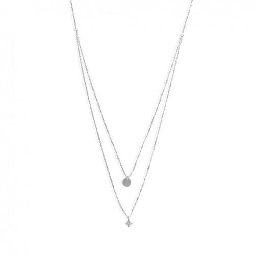 18 carat white gold necklace with 5 brilliant cut diamonds