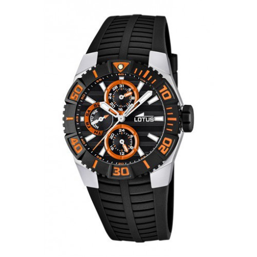 Lotus Marc Marquez multifunction black and orange dial watch 15779/7