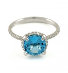 Ring gold with diamonds and Topaz blue AID/A001/T: 1