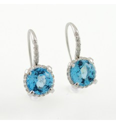 Earrings gold white diamonds and Topaz blue AID/O001/T: 01