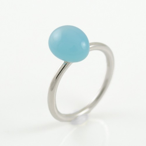 Ring white gold and chalcedony blue MET/A624CA: 1