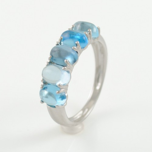 Ring white gold and Topaz blue CAP/A006V: 01