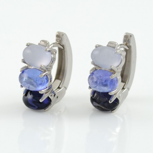 Earrings white gold and CAP/O010/and Iolite: 01