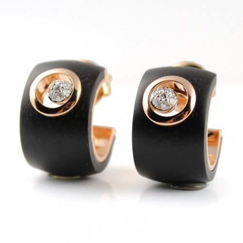 Earrings white gold, pink gold diamond and R3836 ebony wood
