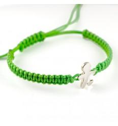 Silver Macrame bracelet green child Inson BR510IN01
