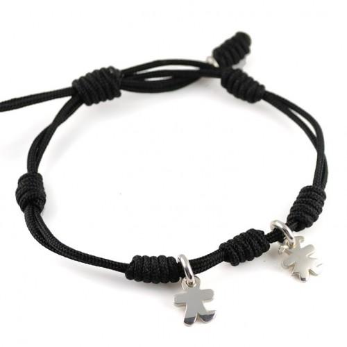 Bracelet silver black knots Inson-Insona boy girl BR502INS03