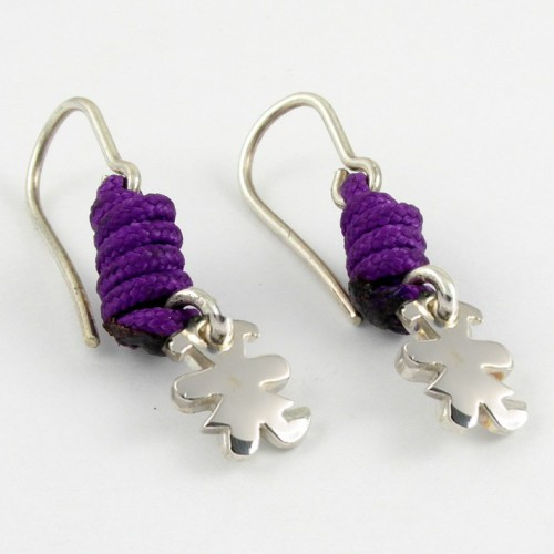 Earrings silver knots lilac Insona girl AR504INA05