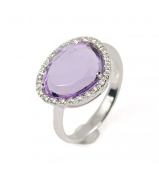 Ring gold white diamonds and Amethyst GRE/A002A: 01